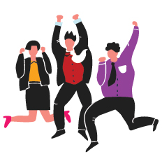 Three peoples in suits are jumping of joy