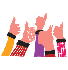 A group of hands give thumb up